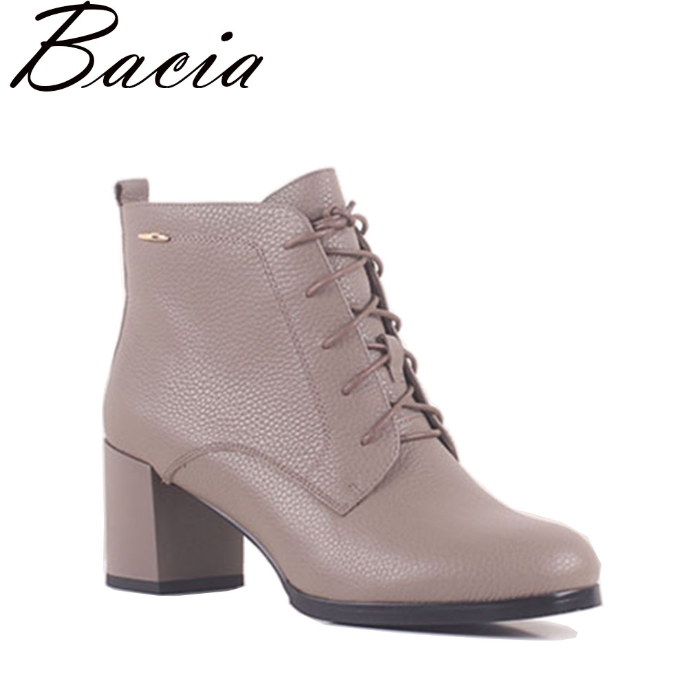 Bacia New Grey Shoes Natural Leather Ankle Boot Fashion Square Toe Thick Heel Women Boots High Heel Genuine Leather Boots SB045 sfzb new square toe lace up genuine leather solid nude women ankle boots thick heel brand women shoes causal motorcycles boot