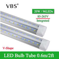 1 PCS V-Shape Integrated LED Tube Lamp 20W T8 570mm 2FT LED Bulbs 96LEDs Super Bright Led Fluorescent Light bombillas led 2000lm