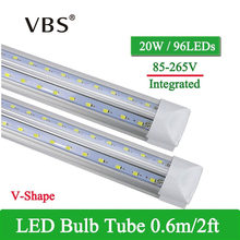 1 PCS V-Shape Integrated LED Tube Lamp 20W T8 570mm 2FT LED Bulbs 96LEDs Super Bright Led Fluorescent Light bombillas led 2000lm(China)