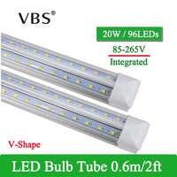1 Uds. Lámpara de tubo LED integrada en forma de V 20W T8 570mm bombillas LED de 2 pies 96LEDs súper brillantes bombillas Led fluorescentes led 2000lm