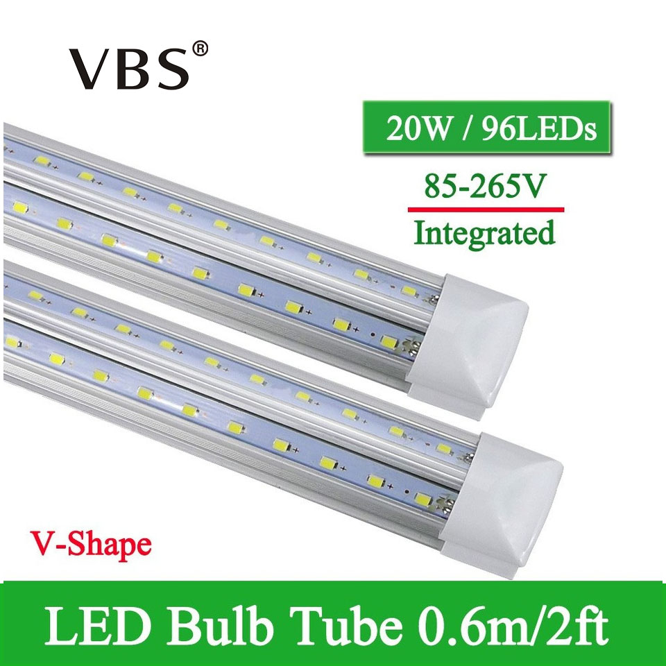 1 pces v-forma integrado led tubo lâmpada 20 w t8 570mm 2ft lâmpadas led 96 leds super brilhante led luz fluorescente bombillas led 2000lm