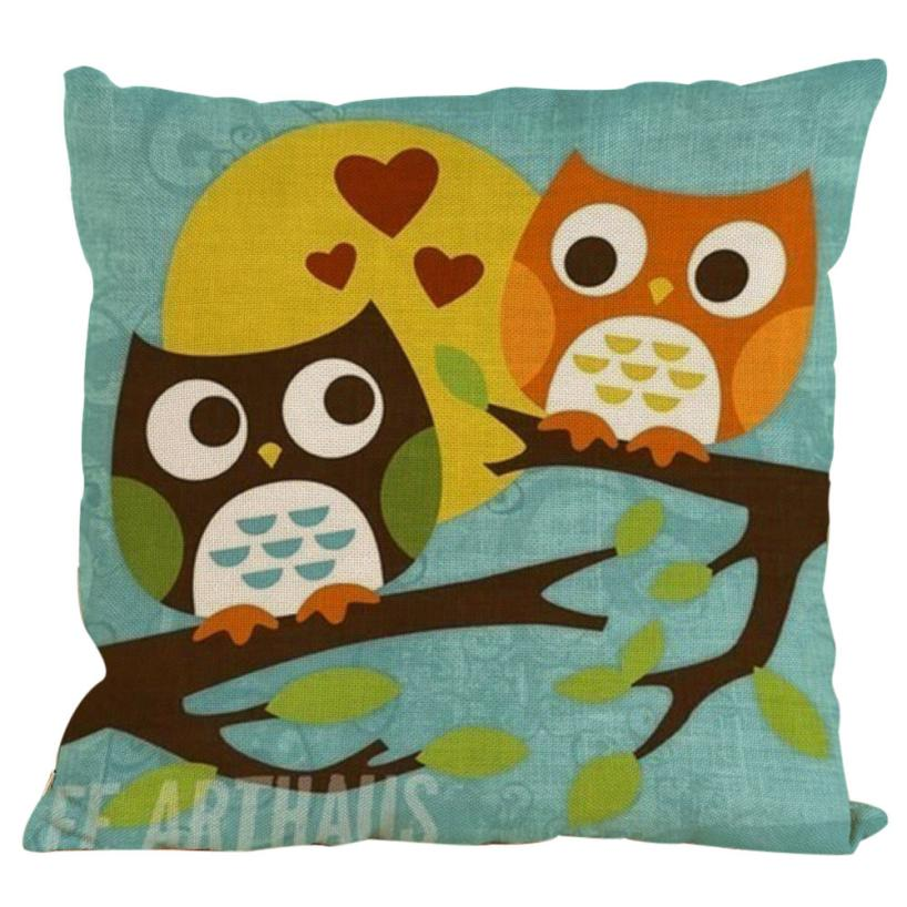 Desain Baru Burung Hantu Kapas Linen Bantal Case Sofa Bantal Cover