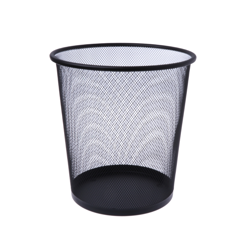 Metal Mesh Wastebasket Round Trash Can Recycling Bin Office Tools Supplies Black ...