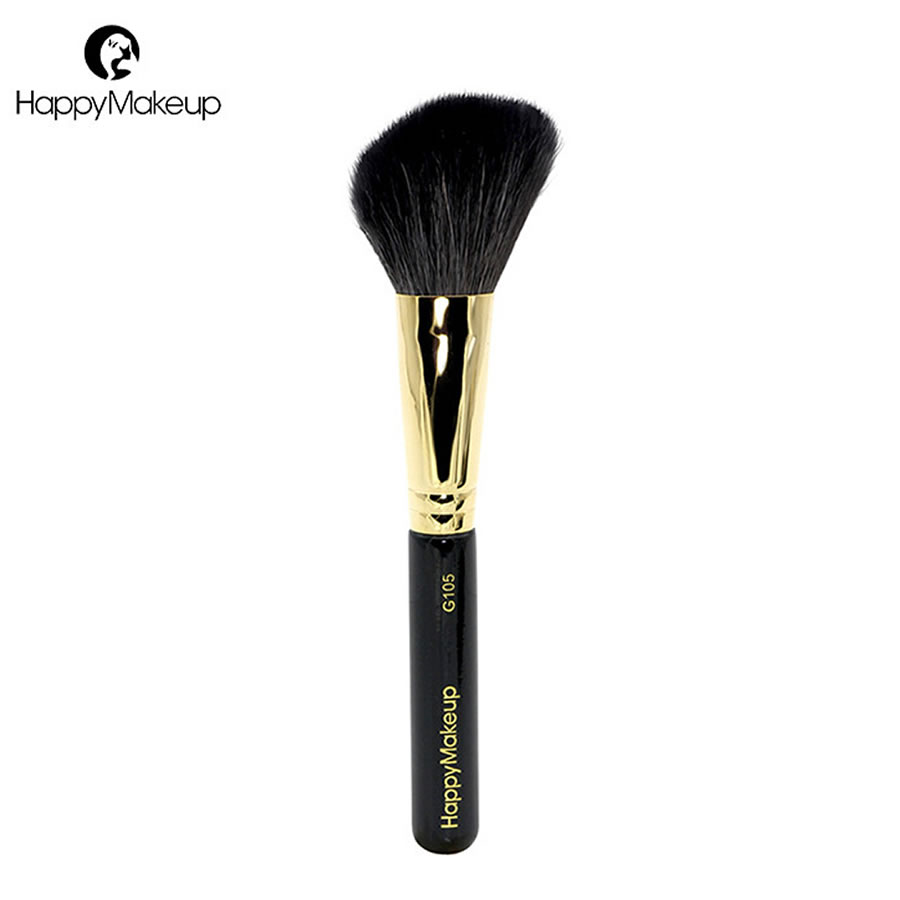Happy Makeup Brush Professional Angled Face Powder Blush Brush Contour Bronzer Cosmetic Brush Natural Goat Hair High Quality 1pc high class goat hair dense bristle powder brush domed shape air kabuki brush face blush makeup brush