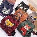 3 Pairs Cartoon Winter Wool Knitted Warm Owl Fox Creative Animal Socks For Female Women's New Funny Cute Texture Socks