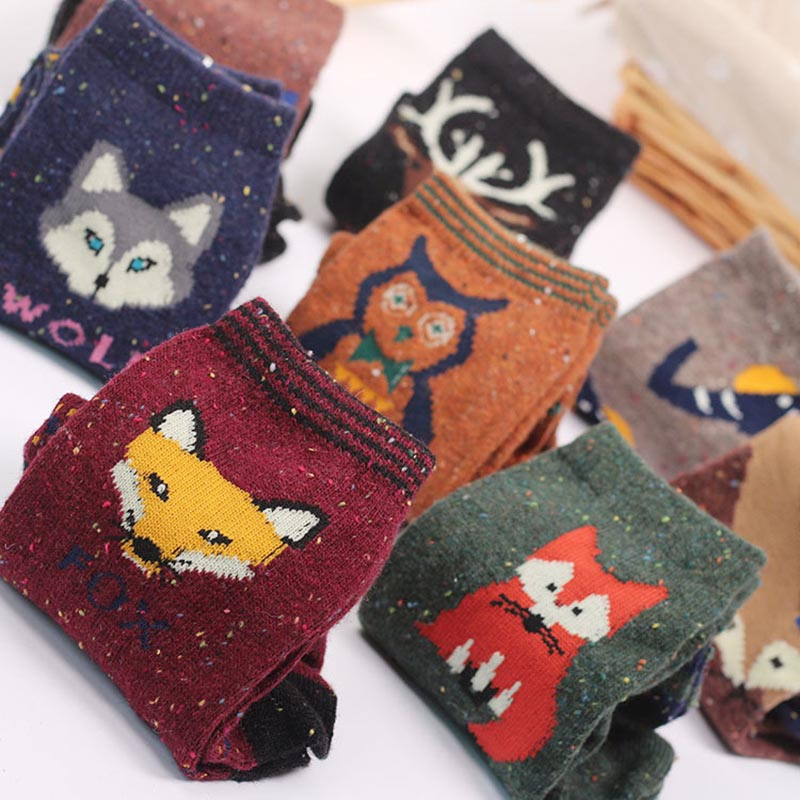 3 Pairs/lot Cute Animal Winter Wool Knitted Warm Owl Fox Animal   Socks   For Female Women's New Funny Cute Texture   Socks