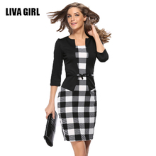LIAV GIRL Womens Retro Faux Jacket One-Piece Polka Dot Flower Contrast Patchwork Wear To Work Office Business Sheath Dress C37