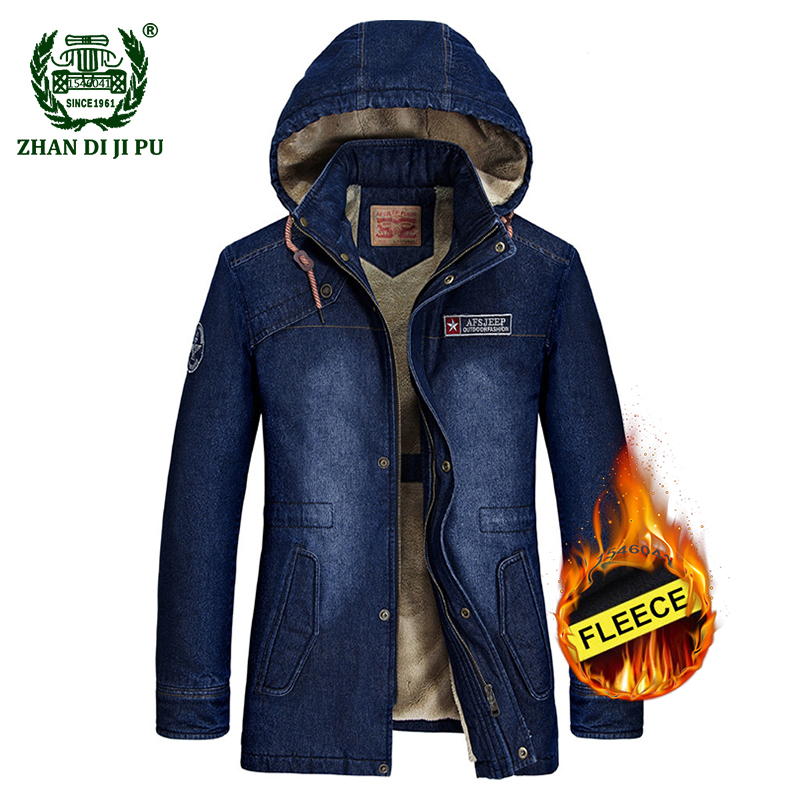 2018 Men's winter thicken warm cowboy cotton hooded jacket coats man casual brand plus size afs jeep denim blue fleece jackets
