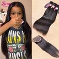 7a tecer cabelo humano em linha reta cabelo virgem malaio com fecho e lace closure rosa produtos de cabelo 3/4 pacotes com fecho