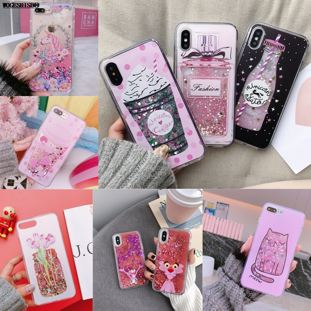 Galleria fotografica Liquid Case for iPhone X Unicorn Water Bottle Ice Cream Pink Panther Flowers Cat TPU Bling Cover for iPhone 6 6S 7 8 Plus