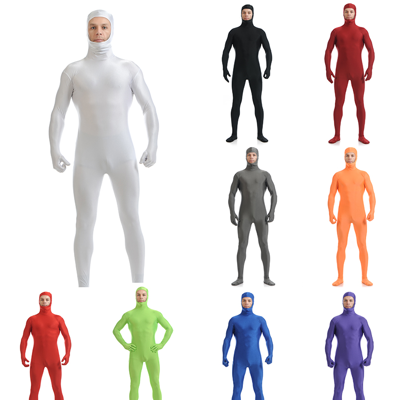 Customize exotic Full Body Open Face Lycra Spandex Zentai Suit Pure Color Skin Tight Halloween Party Customize plus size