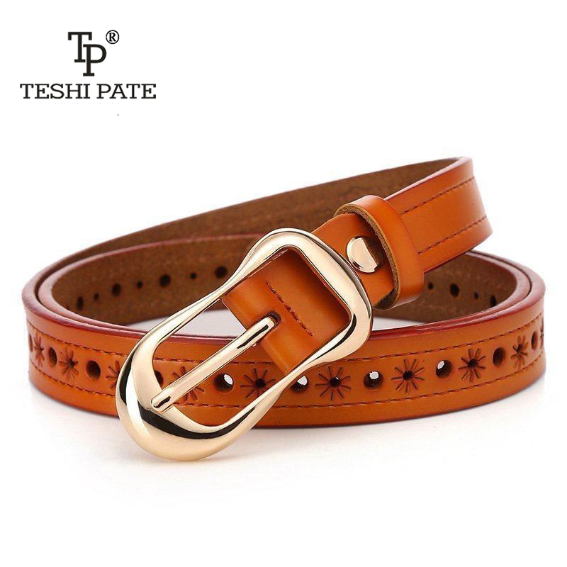 TESHI PATE TP Womens hollow leather belt women waist belt vintage fashion decorative jeans and dress belt 2018