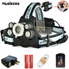 Maimu High Power 15000LM LED Headlamp 3T6 2XPE USB 18650 Rechargeable Headlight Lamp Zoomable Head Flashlight