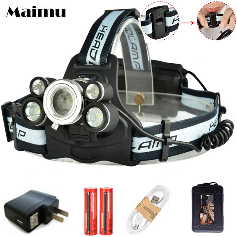 Maimu High Power 15000LM LED Headlamp 3T6+2XPE USB 18650 Rechargeable Headlight Lamp Zoomable Head Flashlight SOS Whistle D10