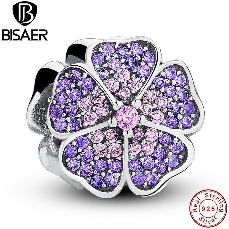 925 Sterling Silver Sparkling Primrose Pink Purple CZ Charm Fit Bracelet Jewelry Making PAS024