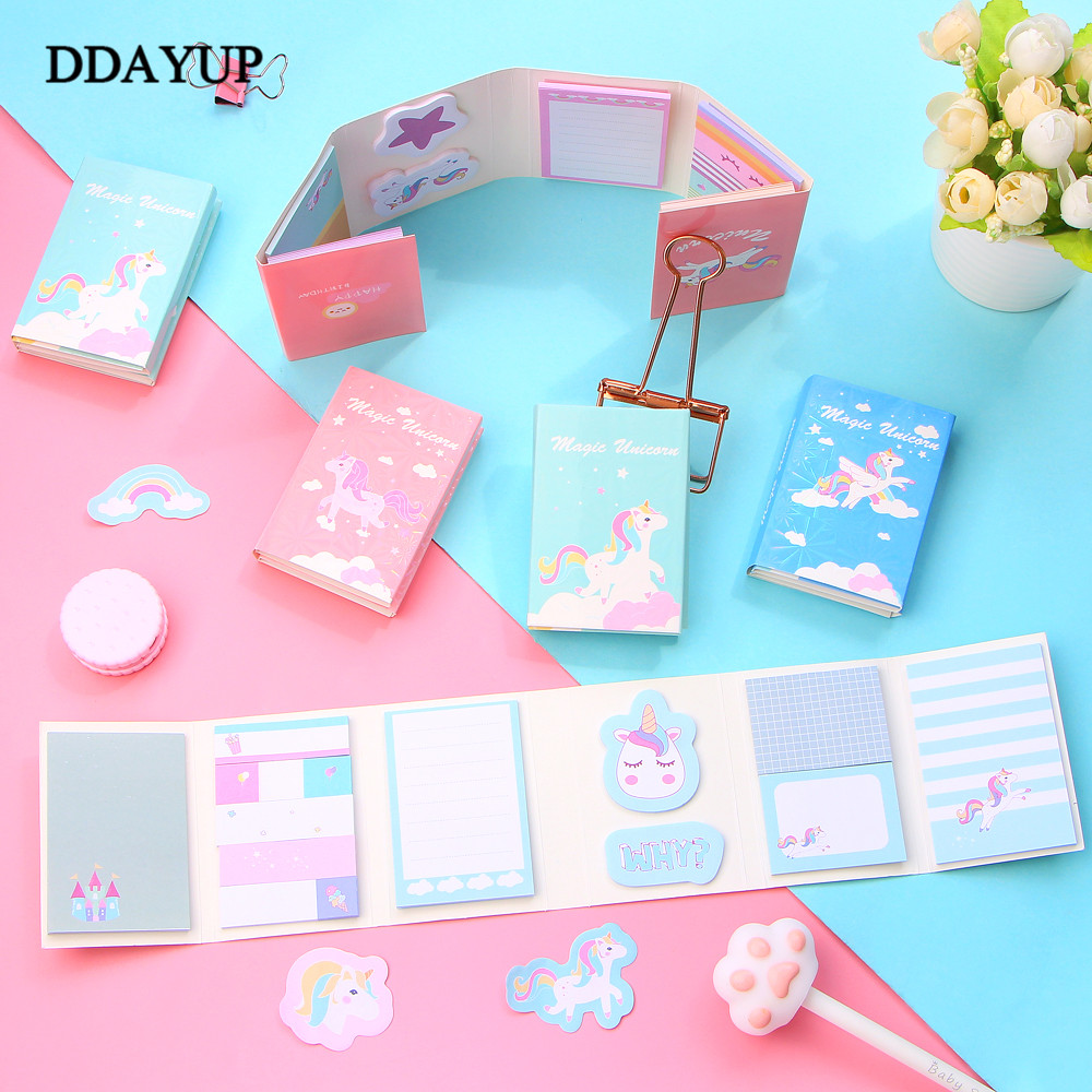 1Pcs Cute Cartoon Unicorn Memo Pad Sticky Notes 6 Folding Memo Pad Gifts School Stationery Supplies