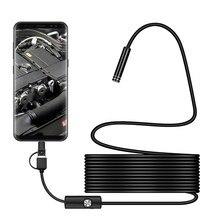 كاميرا تنظير 3 في 1 7 مللي متر من النوع C مقاومة للماء 6Led كاميرا فحص بالمنظار الدقيق USB