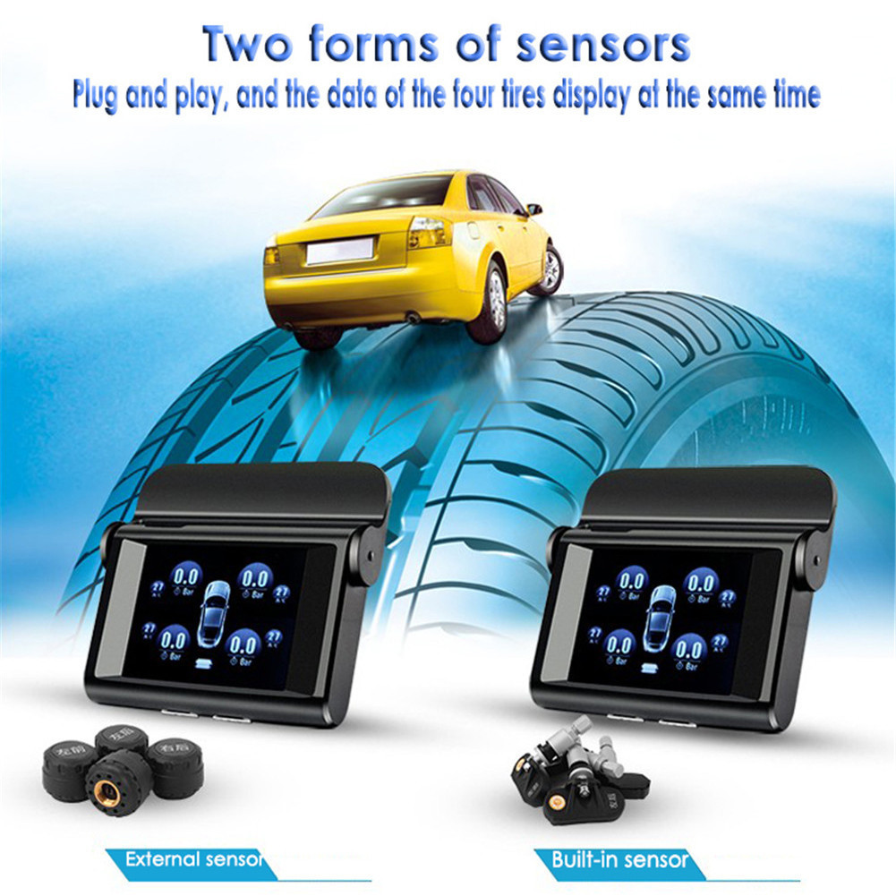 2017 Universal TPMS Car Tire Pressure Monitoring System LCD Display LT-368 Solar Power 4 External Sensor Auto Alarm System universal hotaudio dasaita built in tpms car tire pressure monitoring system car tire diagnostic tool with mini inner sensor