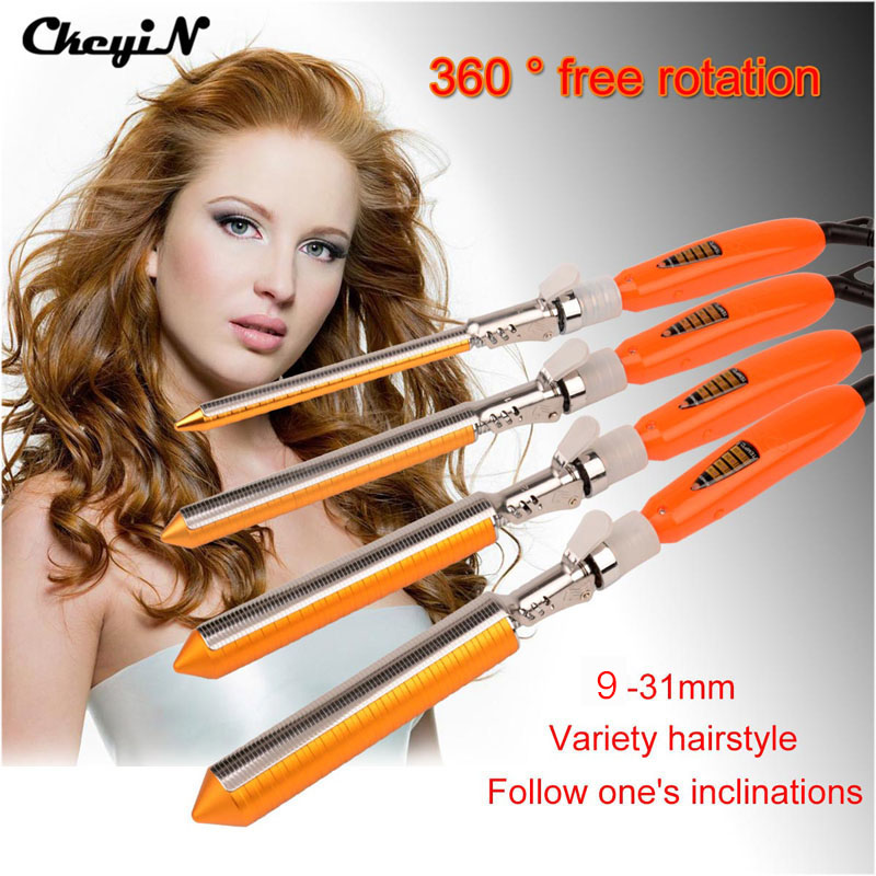 9/13/16/19/22/25/31mm Ceramic Barrel Professional Salon Hair Curling Iron Wand Tongs Hair Curler Roller 4 Optional Diameter 25 28mm professional salon ceramic hair curling iron tongs 360 rotating clip big wave hair curler fast heating styling tools s34