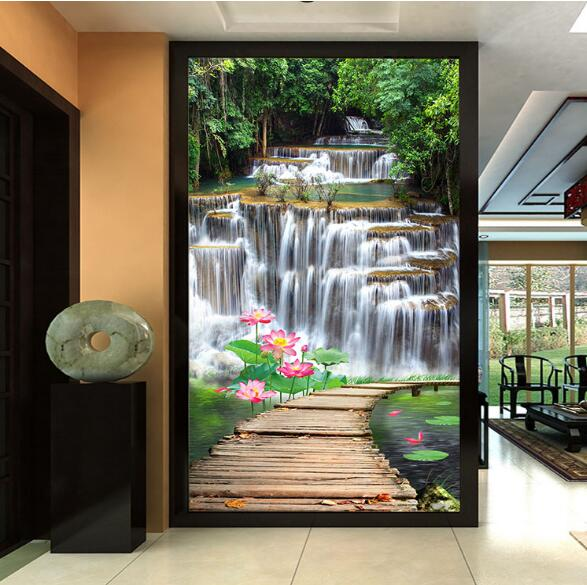 3D Photo Wallpaper Water Fall Landscape Wall Paper Vinyl For Entrance Way  TV Background Living Room Wall Decor In Wallpapers From Home Improvement On  ...