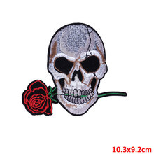 Pulaqi Punk Patch Rose Embroidery Sticker Iron-on Sew On Garment Accessories Arm Badge Decor For Clothing D