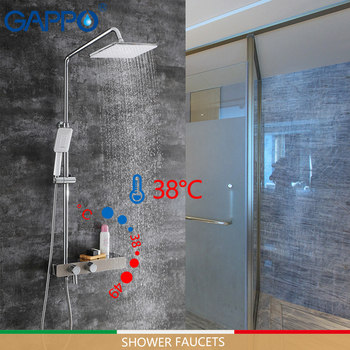 GAPPO shower Faucets thermostatic bathtub faucet brass and stainless steel rainfall shower set mixer tap thermostat faucet mixer цена 2017