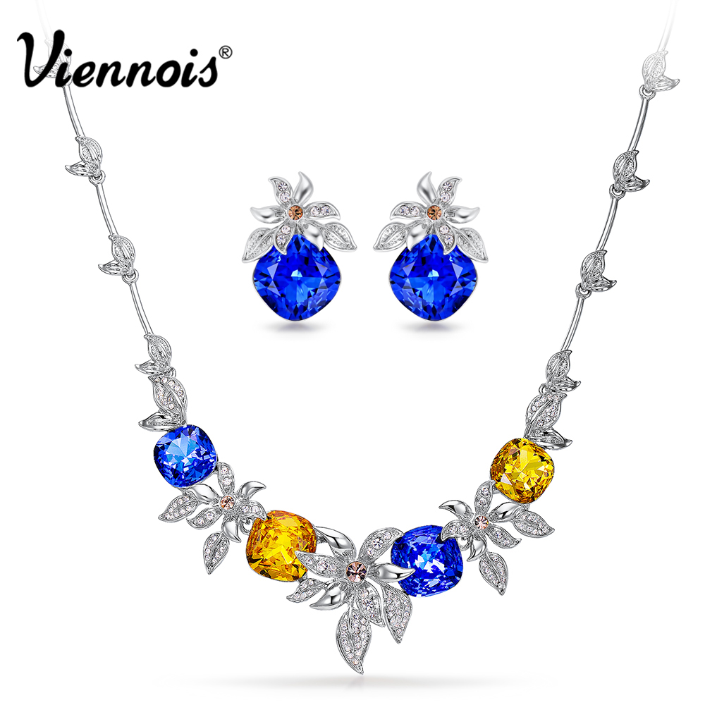 Viennois Luxury Silver Color Jewelry Sets for Women Crystals Flower Chain Necklace Earrings Set Bridal Set