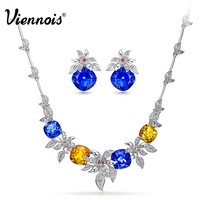 Viennois New Luxury Crystals Platinum Plated Jewelry Sets For Women Full Rhinestone Paved Flower Chain Necklace