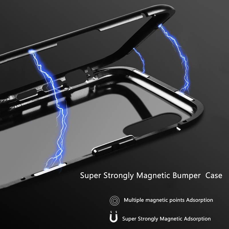 Magnetic Adsorption Metal Bumper Case For iPhone X 8 7 Plus Cases Slim Tempered Glass Cover 2 in 1 Aluminum Frame for iphoneX 8 in Fitted Cases from Cellphones Telecommunications