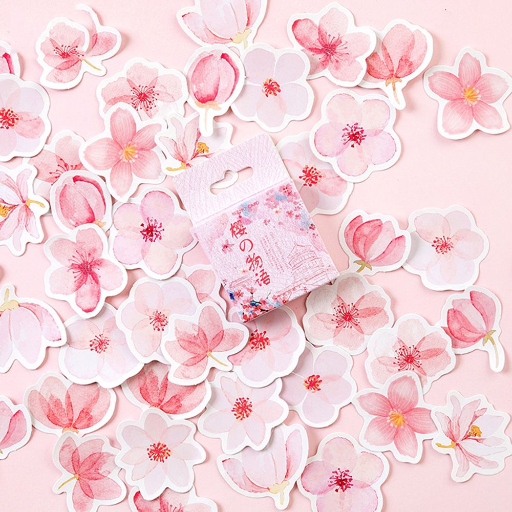 45 Pcs/pack Cherry Sakura Flowers Words Journal Decorative Stickers Adhesive Stickers DIY Decoration Diary Stationery Stickers