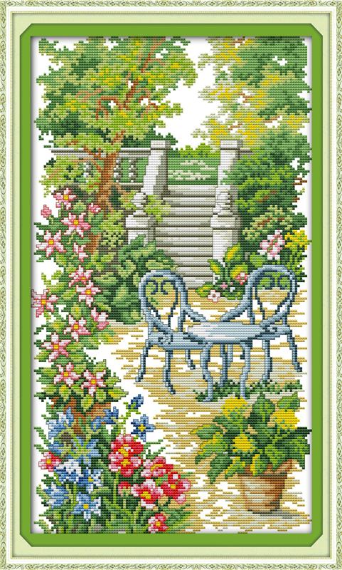 Garden steps, counted printed on fabric DMC 14CT 11CT Cross Stitch kits,embroidery needlework Sets Home Decor