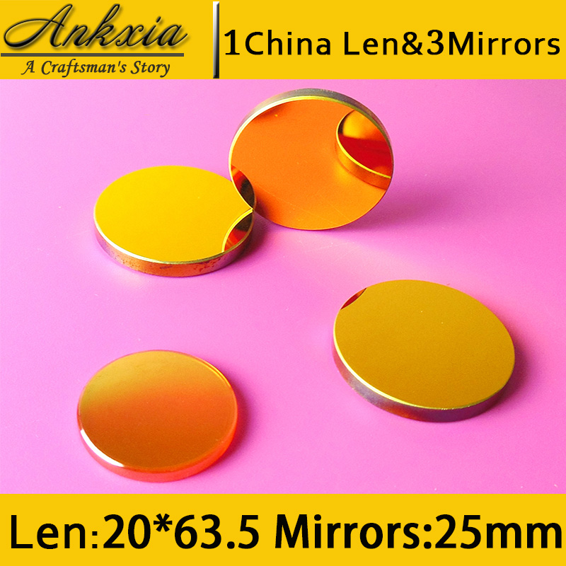 1PCS Dia 20mm Length 63.5mm China ZnSe Co2 Laser Focus Len and 3PCS 25mm Silicon Mirrors for Cutter Engraving Machine 3pcs 25mm dia si coated gold silicon laser reflection mirrors for laser cutting engraving machines