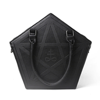 Pentagram Punk Darkness Gothic Five Star Handbag Women Girl Black PU Shoulder Bag with Chain