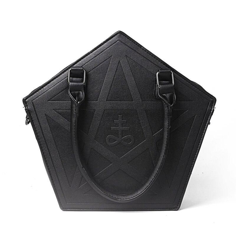 Bolsa de Ombro com Corrente Pentagrama Punk Escuridão Gótico Cinco Estrelas Bolsa Feminina Menina Preto pu