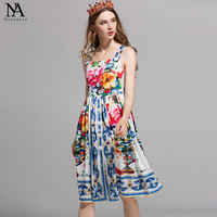 New Arrival 2018 Summer Women's Spaghetti Straps Floral Printed Fashion Cotton Casual Dresses