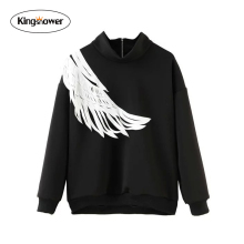 2016 Autumn Women's Sweatshirt  Laser Wings Stitching Hoodies Tracksuit Bts Svitshot Long Sleeved Pullover Costumes JA7018
