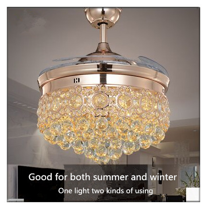 Modern Middle-European Elegant Crystal Round Shaped LED Ceiling Fan Lights with Foldable Invisible Blades