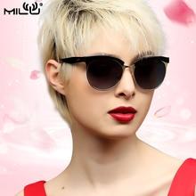 MILU luxurious Brand Logo Women Sunglasses Fashion Outdoor Shopping Round Mirror Polarized Lens UV Protect ML25