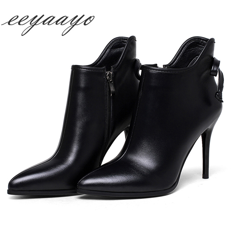Здесь продается  Genuine leather ankle spring boots women shoes high thin heel cow leather zip butterfly-knot classic sexy ladies pointed toe  Обувь