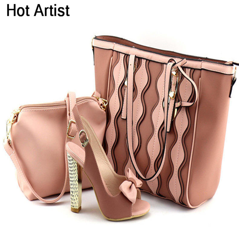 цены Hot Artist Italian Fashion Ladies Matching Shoes And Bag Set African PU Leather High Heel Shoes And Bag Set For Party TX-20181