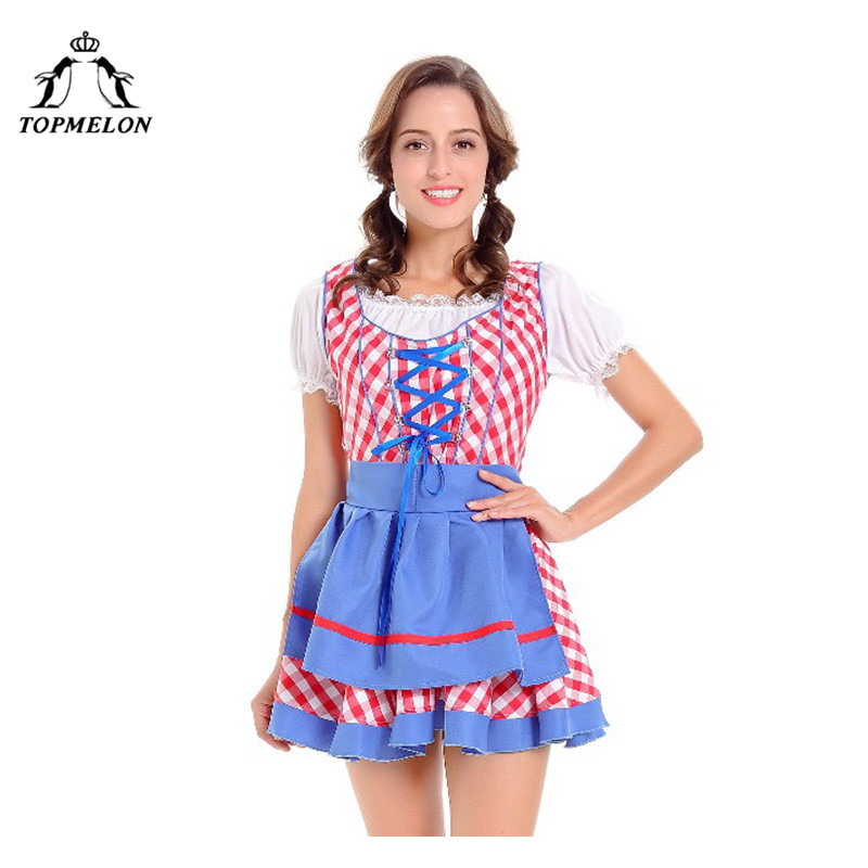 TOPMELON Peasant Cosplay Uniform Women Renaissance Plaid Halloween Holiday Shows Plays Costume Set Bodice Lace Up Mini Dress