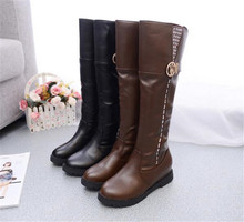 Fashion Women Riding Boots Round Toe Chunky Low Heel Motorcycle Boots Shoes Zipper Buckle Women Platform Boots Brown black Shoes