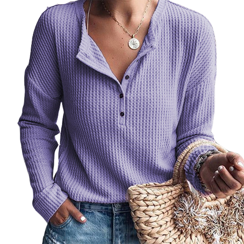 Casual Pullovers Basic Tops Hot Sale Women Autumn Buttons T-shirts Knitwear O-neck Tshirts Long Sleeve Knit Tees Plus Size M0104