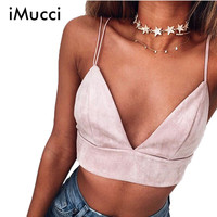 IMucci 2017 Summer Bralette Crop Top Sexy Pink Strappy Suede Cami Camisole Casual Women Tops