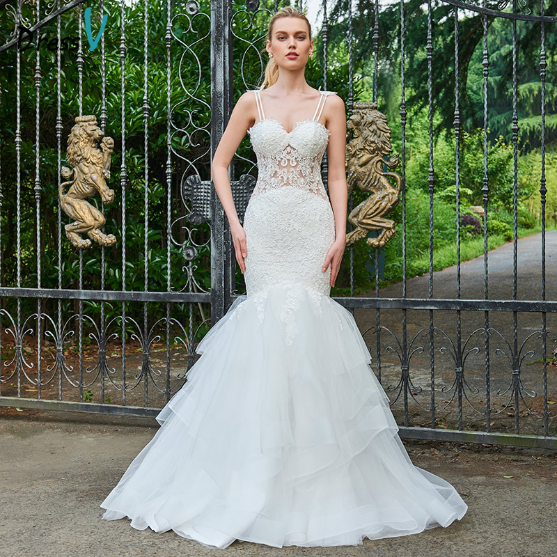 Lace Mermaid Wedding Gown With Straps: Dressv Spaghetti Straps Long Wedding Dress Sleeveless Lace