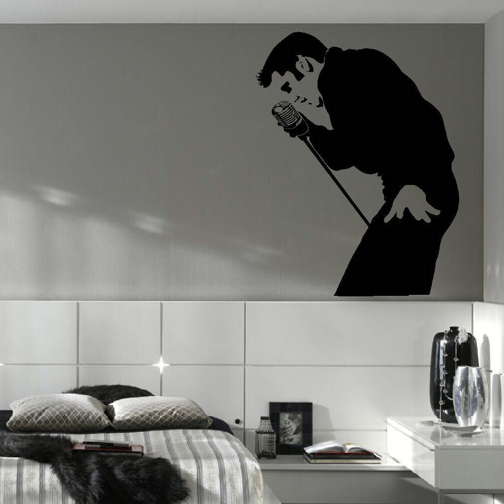 US $7.58 31% di SCONTO|Classic elvis presley parete grande camera da letto  murale art sticker stencil decalcomania del vinile del matt d177-in Adesivi  ...