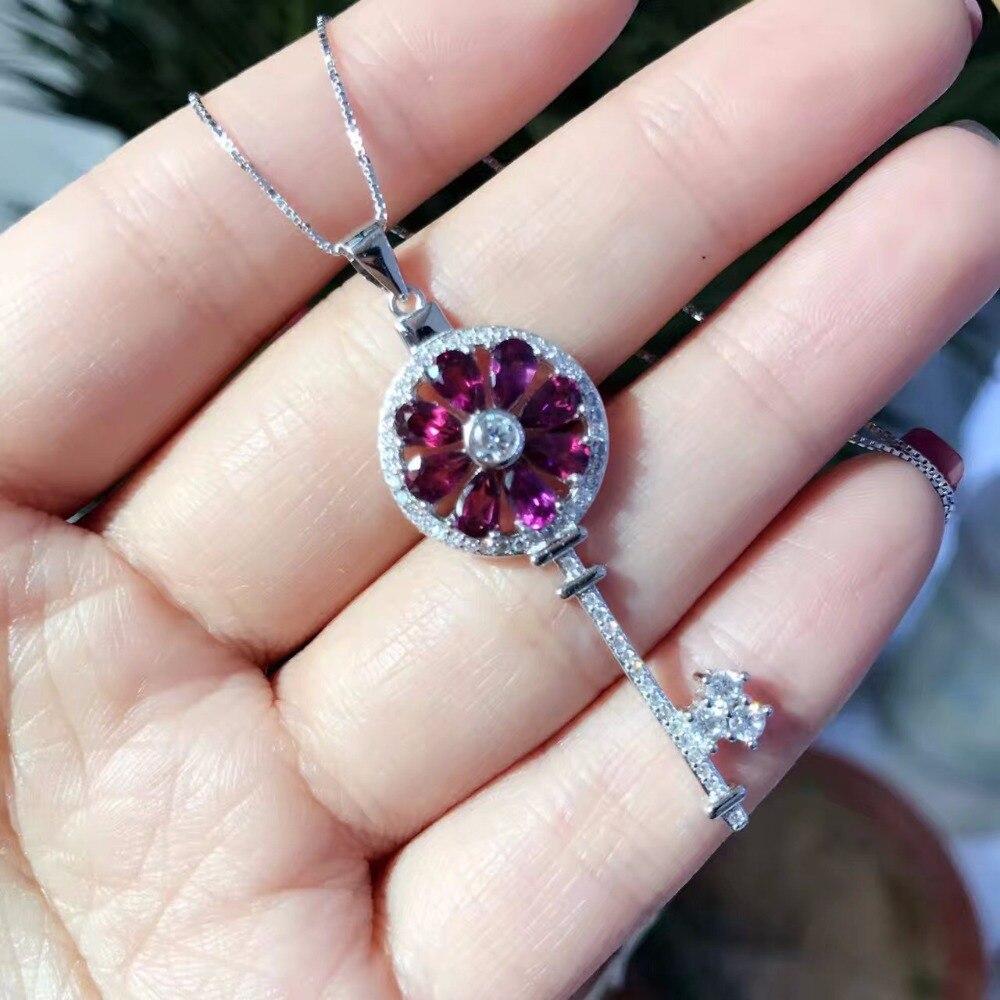 Uloveido Natural Red Garnet Key Shape Pendant Necklace Women 925 Sterling Silver Gemstone Necklace Pendant for