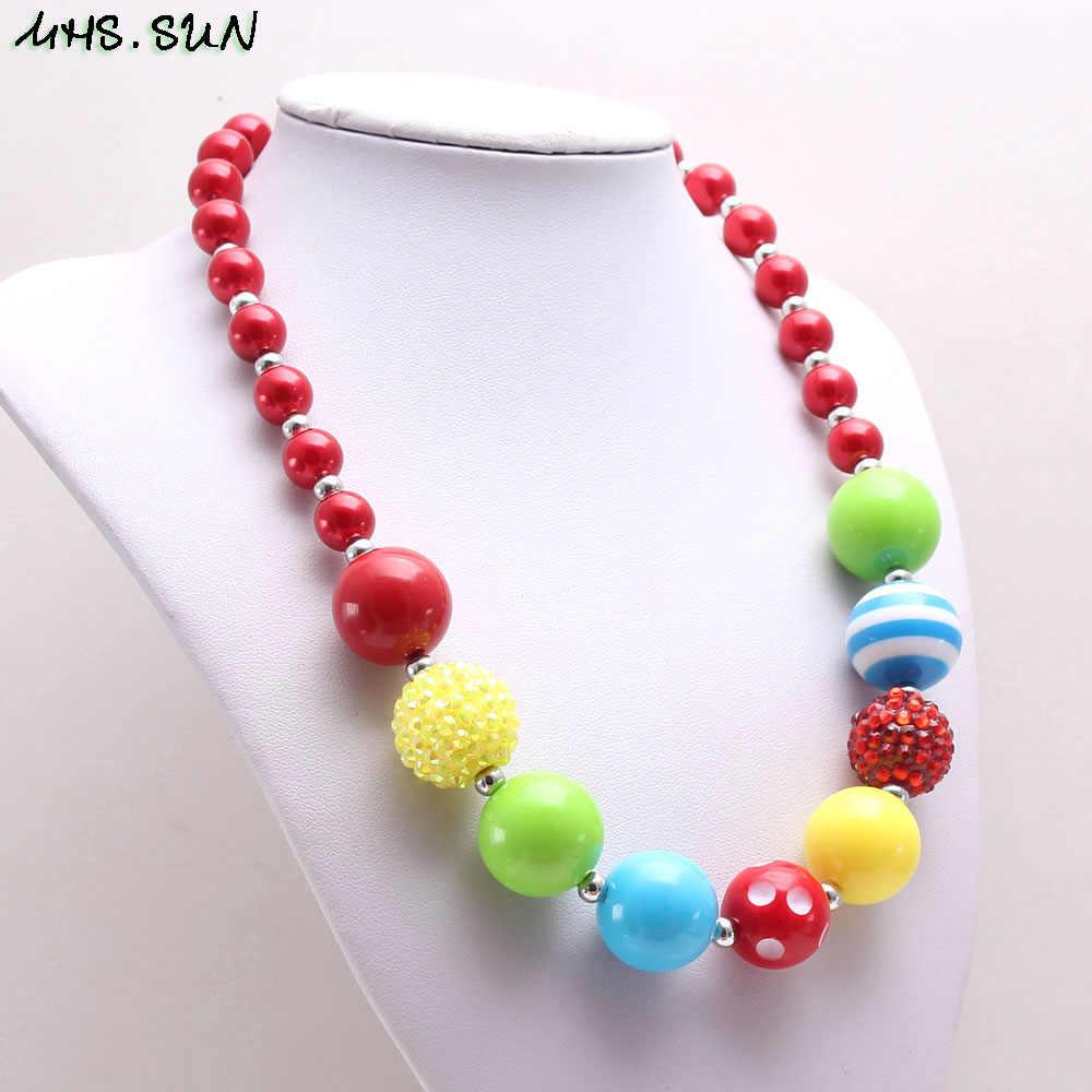 MHS. óculos de SOL Da Moda chunky bubblegum beads Colar DIY para crianças dos miúdos do bebê meninas jóias bonito colar de contas de chicletes 1 pc/lote