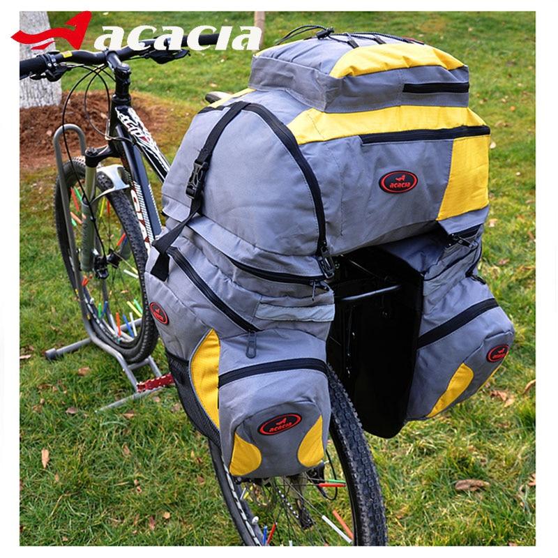 ФОТО ACACIA Multifunction Nylon Bike Seat Bag Bicycle Pannier with Waterproof Cover Long Distance Hiking Removable Cycling Big Bag