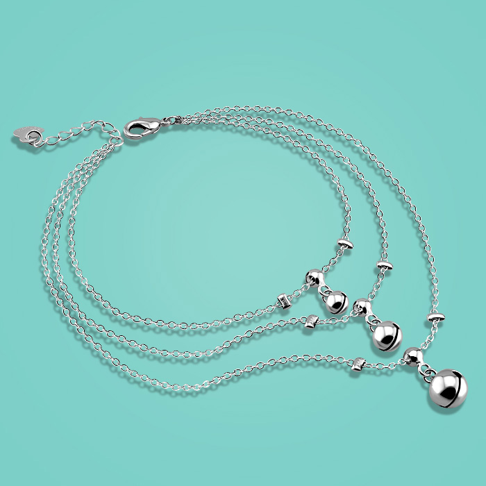 Fashion 925 sterling silver chains multi level bell pendant design Summer girls popular silver anklets Solid